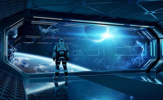 Astronaut im futuristischen raumschiff, das raum durch ein großes fenster aufpasst