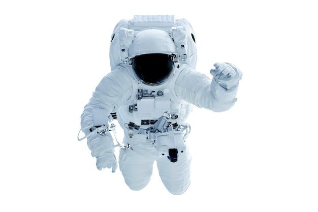 Astronaut im raumanzug isoliert auf weißem hintergrundelemente dieses bildes wurden von der nasa eingerichtet