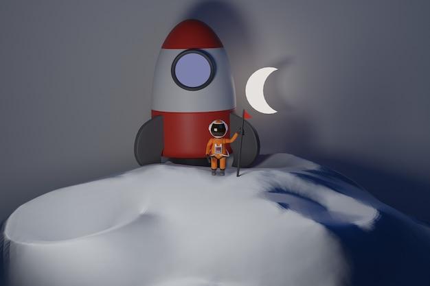 Astronaut im raumanzug steht auf dem mond mit flaggenkarikatur-astronautenkonzept 3d-rendering
