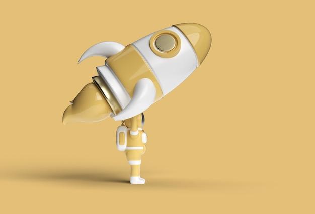 Astronaut mit rocket-stift-tool erstellt beschneidungspfad in jpeg enthalten easy to composite.