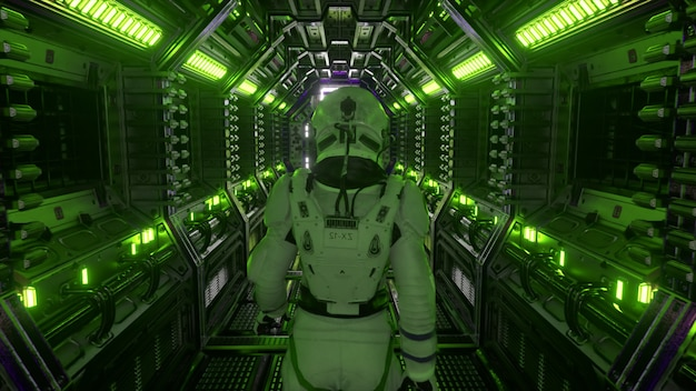 Astronaut zu fuß im raumschifftunnel, sci-fi-shuttle-korridor. futuristische abstrakte technologie. technologie und zukunftskonzept. blinklicht. 3d-darstellung