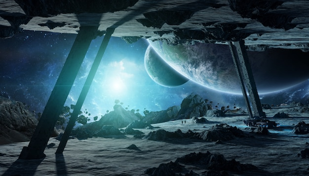 Astronauten, die eine wiedergabe des asteroidenraumschiffes 3d erforschen