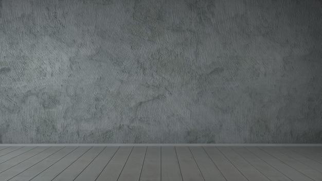 Atelierraum von gipsbeton-schmutzwänden und holzboden, 3d-illustration.