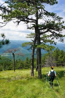 Atemberaubende aufnahme einer frau, die auf einem berg mit bäumen und hohem gras mit einer schönen ansicht wandert