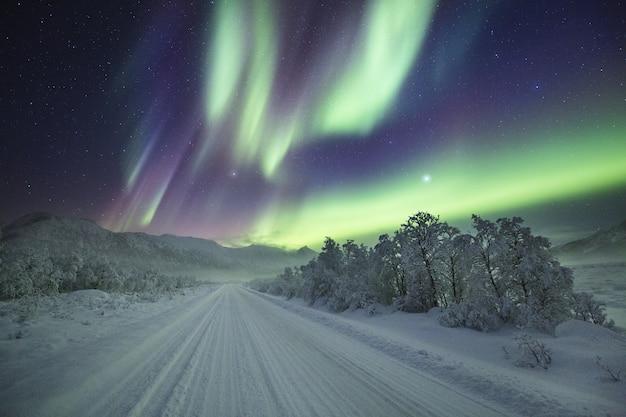 Atemberaubende aufnahme von farben, die am nachthimmel über einem winterwunderland tanzen