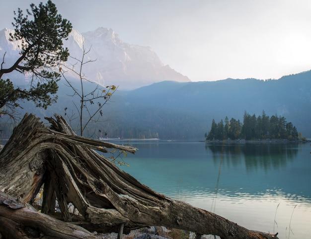 Atemberaubende aussicht auf die zugspitze, umgeben von wäldern in eibsee