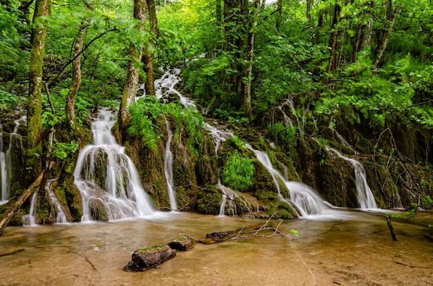 Atemberaubender grüner wasserfall in einem wald am plitvicer seen-nationalpark, kroatien