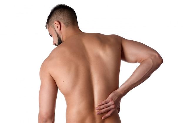 Athlet klammert sich an rückenschmerzen