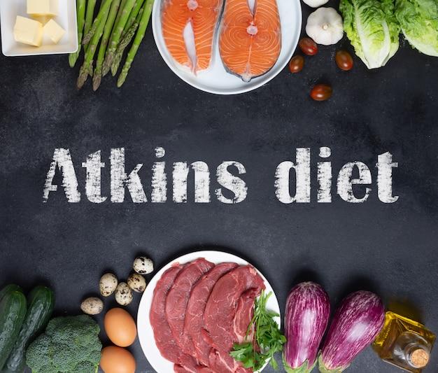 Atkins diät-lebensmittelzutaten auf balck-tafel, gesundheitskonzept, draufsicht mit kopienraum. konzept mit text