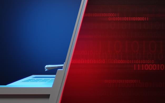 Atm banking zu binärem datencode digitaler hintergrund mit roten und blauen farben