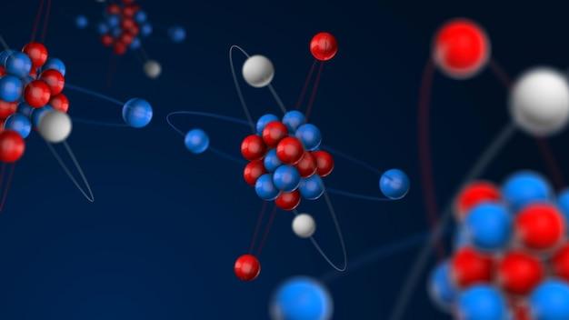 Atom 3d modell, protonen und neutronen im atomkern