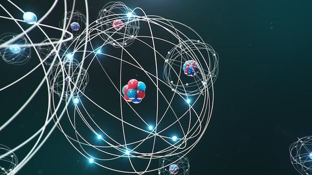 Atomare struktur. glühende energiekugeln, kernreaktion.