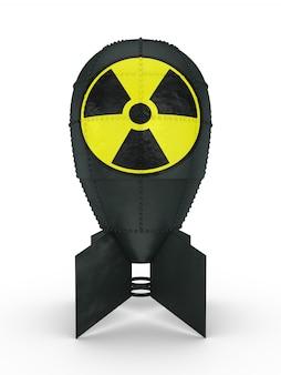 Atombombe mit einem anzeichen von strahlung