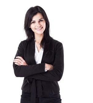 Attraktive, erfolgreiche geschäftsfrau, die selbstbewusst in die kamera schaut