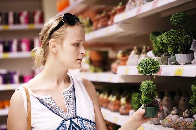 Attraktive frau, die topfpflanzen wählt