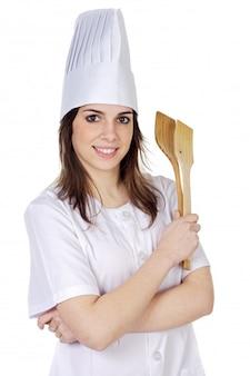 Attraktive kochfrau a über weißem hintergrund