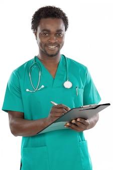Attraktiver junger doktor a über weißem hintergrund