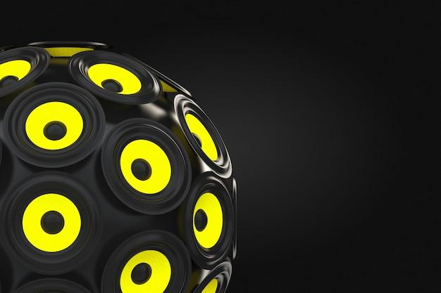 Audio-lautsprecher als kugel auf schwarzem hintergrund. 3d-rendering