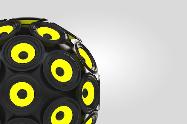 Audio-lautsprecher als kugel auf weißem hintergrund. 3d-rendering