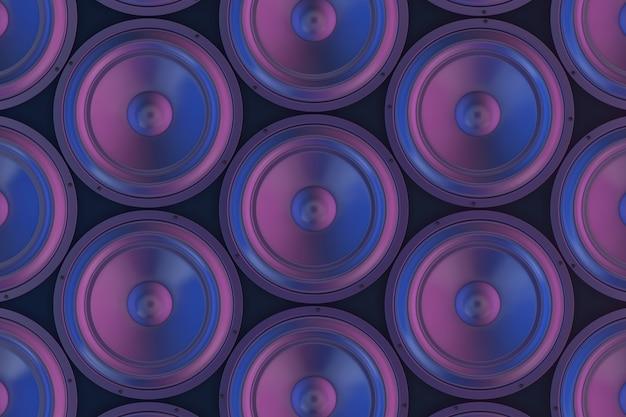 Audio-musik-stereo-lautsprecher abstrakter hintergrund extreme nahaufnahme. 3d-rendering