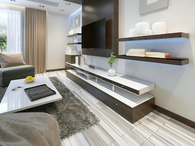 Audiosystem mit tv und regalen im wohnzimmer moderner stil. holzfurniermöbel in braun mit dekorativen paneelen. 3d-rendering.