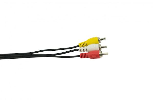Audiovideokabel rca zur 3.5mm steckfassung getrennt auf weiß