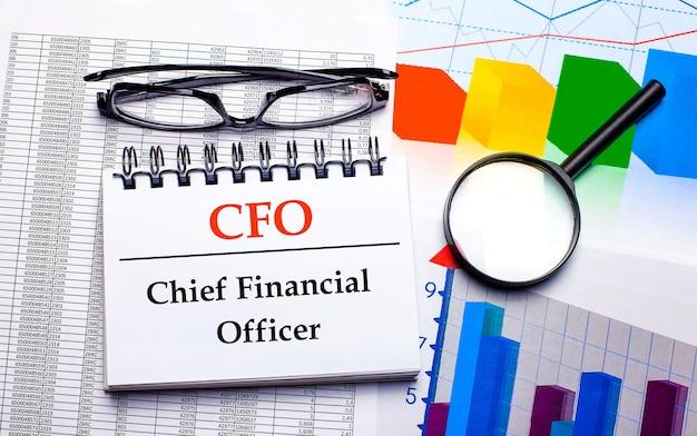 Auf dem desktop befinden sich eine brille, eine lupe, farbkarten und ein weißes notizbuch mit dem text cfo chief financial officer