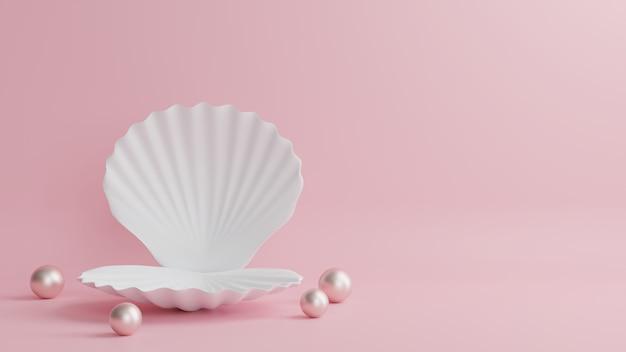Auf dem geschälten podium befinden sich perlen mit einem wunderschönen rosa hintergrund