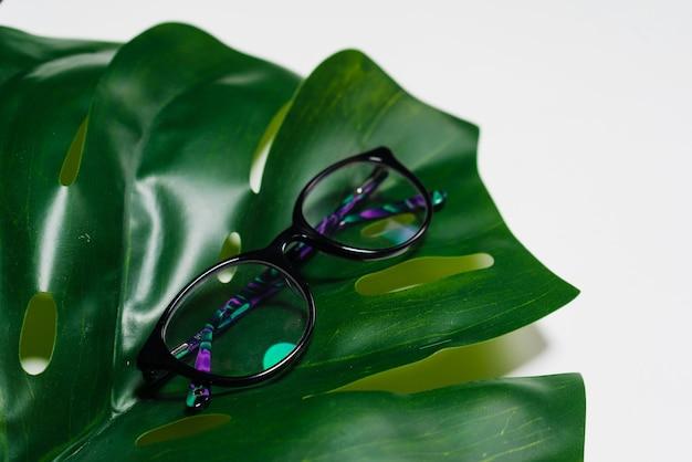 Auf dem großen grünen blatt liegen brillen