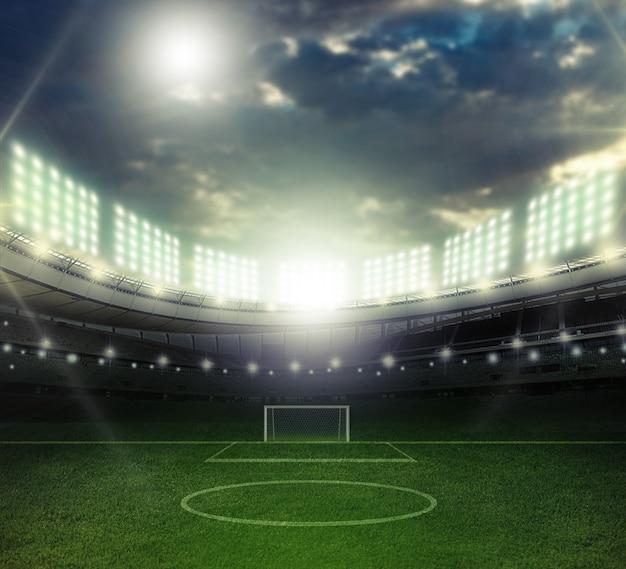Auf dem stadion. abstrakte fußball- oder fußballhintergründe