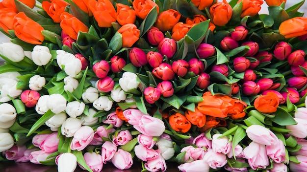 Auf dem tisch lag ein riesiger mehrfarbiger strauß tulpen. ein heller hintergrund der frühlingsblumenblüten. floristik und urlaubsvorbereitung. blumenmusterkonzept