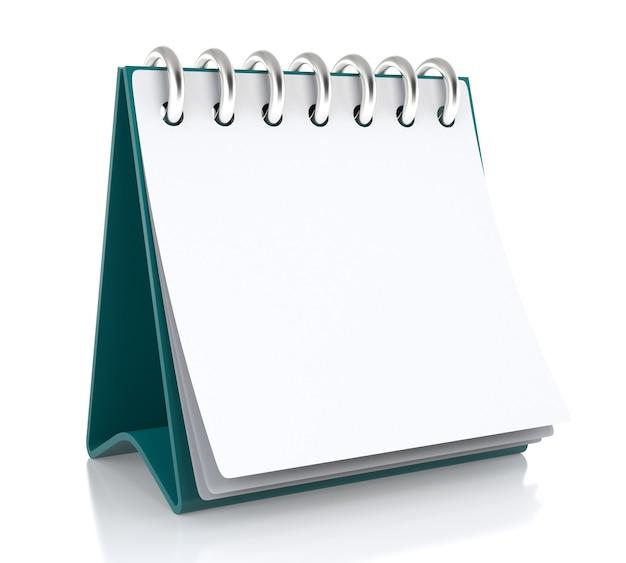 Auf dem tisch steht ein papierweißer kalender. isoliert auf weißem hintergrund - 3d-darstellung