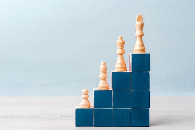 Auf der treppe aus blauen würfeln stehen weiße schachfiguren. konzept der karriereleiter, erfolg