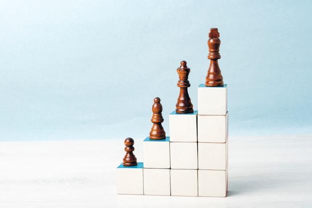 Auf der treppe aus weißen würfeln stehen schwarze schachfiguren. konzept der karriereleiter, erfolg