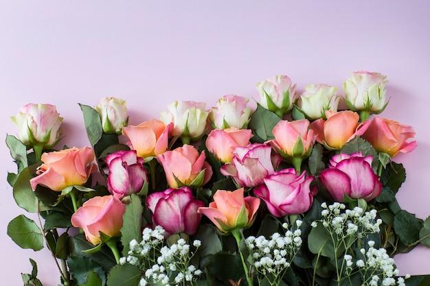 Auf einem rosa hintergrund rosa rosen in verschiedenen nuancen - für einen geburtstag, valentinstag