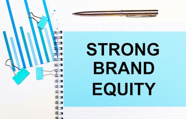 Auf einer hellen oberfläche - hellblaue diagramme, büroklammern und ein blatt papier mit dem text strong brand equity