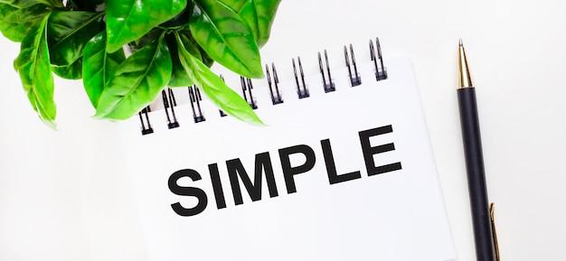 Auf einer weißen fläche eine grüne pflanze, ein weißes notizbuch mit der aufschrift simple und ein stift