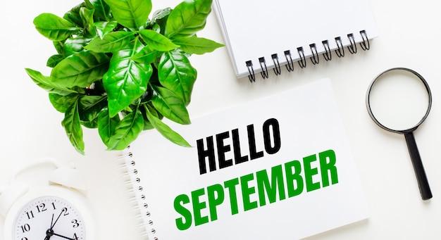 Auf hellem hintergrund gibt es einen weißen wecker, eine lupe, eine grüne pflanze und ein notizbuch mit den worten hallo september.