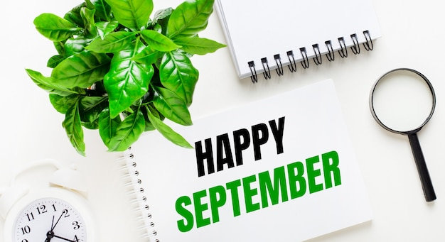 Auf hellem hintergrund gibt es einen weißen wecker, eine lupe, eine grüne pflanze und ein notizbuch mit den worten happy september.