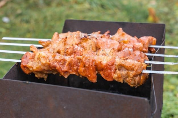 Auf holzkohle gegrillter schweinekebab am spieß in der natur zubereitet