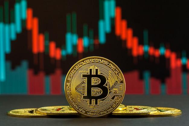 Auf- und abwärtstrend der bitcoin-kryptowährung durch grüne und rote kerzen. münze von btc vor handelsdiagramm
