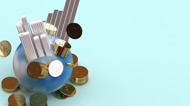 Aufbau auf erde münzen und diagramm 3d-rendering für geschäftsinhalte.