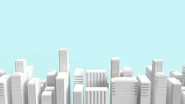 Aufbauend auf blauem hintergrund für 3d-rendering von eigenschaftsinhalten.