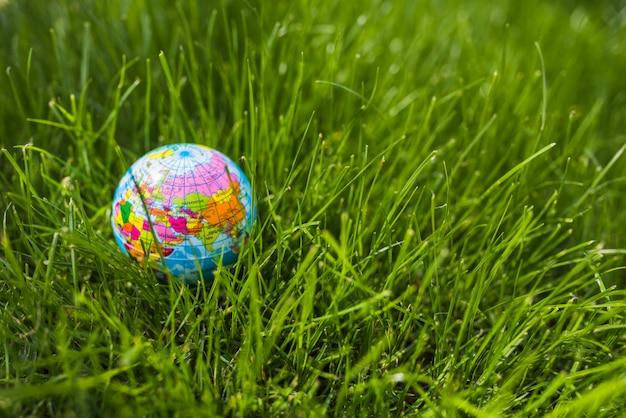 Aufblasbare kugel auf grünem gras