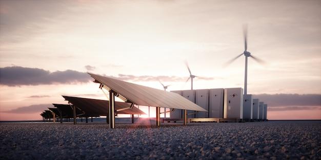 Aufbruch neuer erneuerbarer energietechnologien. moderne, ästhetische und effiziente dunkle sonnenkollektoren, ein modulares batterie-energiespeichersystem und eine windkraftanlage in warmem licht. 3d-rendering.