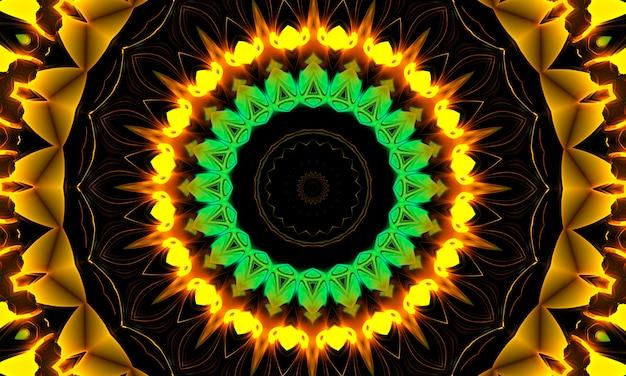 Auffälliges kaleidoskop, abstraktes design, das surreal, stark, intensiv, dynamisch und kraftvoll ist, für banner, poster, flyer, tapeten, einladungen, hintergründe, websites, werbung, zeitschriften