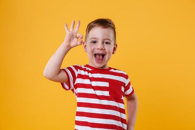 Aufgeregter kleiner junge, der steht und okay geste zeigt