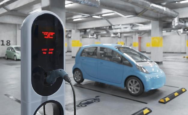 Aufladen des 3d-elektroautos