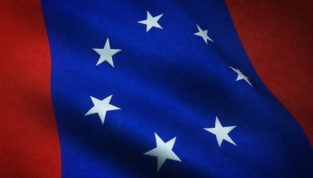 Aufnahme der wehenden flagge der föderierten staaten der antarktis mit interessanten texturen