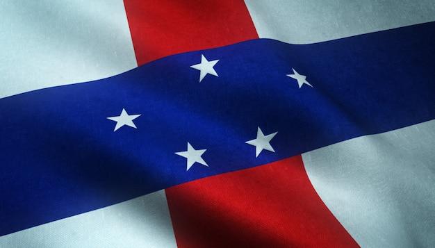 Aufnahme der wehenden flagge der niederländischen antillen mit interessanten texturen
